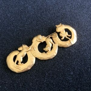 JJ: Jonette Jewelry gold cat pin